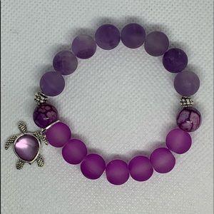 Stretchable purple turtle bracelet